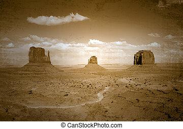 estilo, vindima, imagem, manchado, vale monumento, paisagem