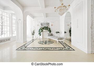 estilo, vindima, luxuoso, aristocrático, interior, lareira