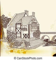 estilo, vindima, mão, vetorial, casa, desenhado