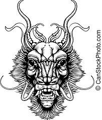 estilo, woodblock, cabeza, dragón