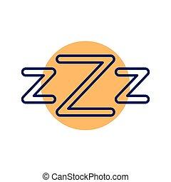 estilo, zzz, línea, sueño, vector, cartas, icono, diseño