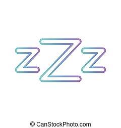 estilo, zzz, sueño, vector, cartas, icono, gradiente, diseño