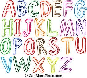 estilos, alfabeto, fuente, colorido