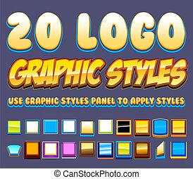 estilos, cómico, 20, gráficos