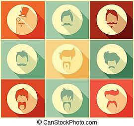 estilos, colección, pelo, vector, hipster, ilustración, ...