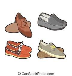 estilos, conjunto, shoes, clásico, mens, deporte