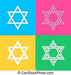 estilos, israel., magen, color, símbolo, star., david, cuatro, squares., icono, protector