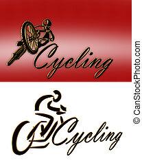 estilos, logotipo, 2, ciclismo