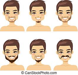 estilos, marrom, barba, haired, homem