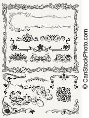estilos, ornamental, elementos, colección, antiguo, diseño, fronteras