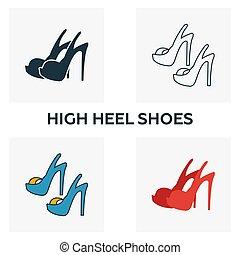 estilos, plano, contorno, elementos, shoes, iconos, collection., set., creativo, cuatro, alto, llenado, símbolos, diferent, icono, coloreado, tacón, ropa