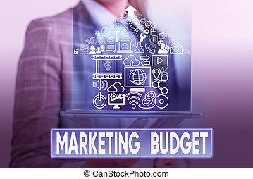 estimé, photo, products., promouvoir, cout, budget., signe, montant, requis, conceptuel, commercialisation, texte, projection