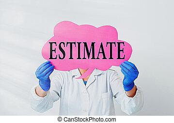 estimate., 実験室 技術者, 概念, 空, ペーパー, smartphone., テキスト, 計算しなさい, ...