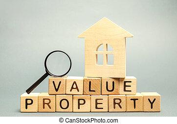 estimation, magnifier, maison, housing., vrai, bois, maison, valeur, propriété, mot, /, propriété, blocs, valuation., inspection, état, verre., étude