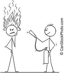estintore, fiamme, pensare, duro, o, fuoco, un altro, venuta, uomo affari, testa, cartone animato, uomo