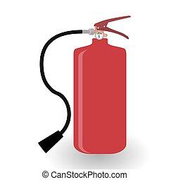 estintore, illustration., fuoco, isolato, fondo., vettore, bianco rosso