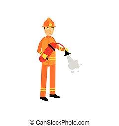 estintore, protettivo, pompiere, fuoco, schiuma, carattere, uniforme, spruzzare, casco