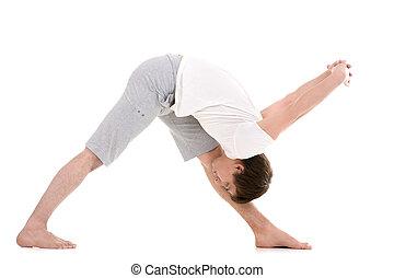 estirar, postura, yoga, intenso, lado