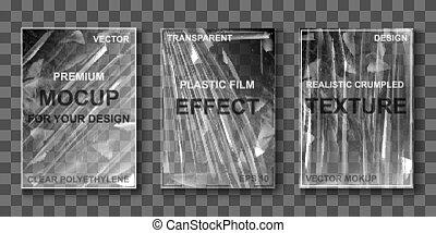 estirar, transparente, película, mockup, celofán