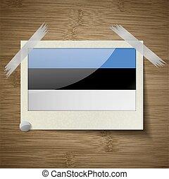 estland, van hout vensterraam, vector, vlaggen, texture.