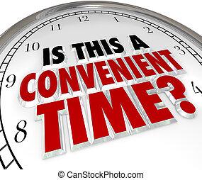 esto, conveniente, tiempo, pregunta, reloj