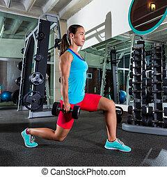 estocada, gimnasio, mujer, ejercicio, dumbbell