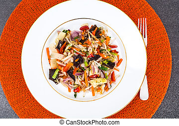 estofado, mun, vegetales, hongos, soja, brotes, bambú