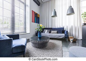 estofado, sala de estar, mobília