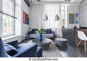estofado, sala de estar, sofá