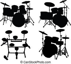 estojos, tambores