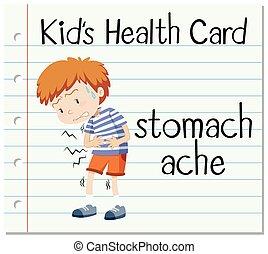estomac, flashcard, santé, douleur