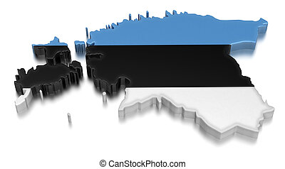 Map of Estonia. 3d render Image. Image with clipping path