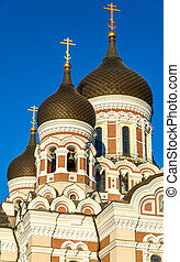 estonia, -, cupole, tallinn, santo, nevsky, cattedrale, alessandro