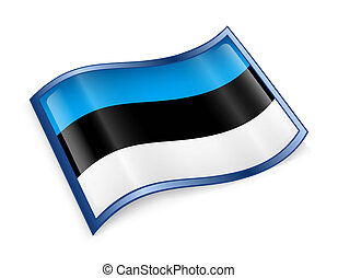 Estonia Flag Icon, isolated on white background.