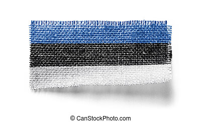 Estonia flag on a piece of cloth on a white background