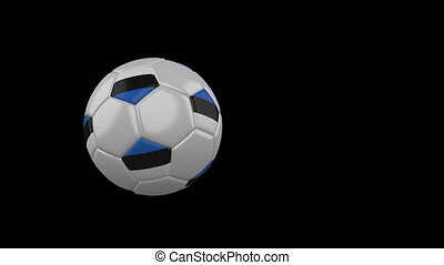 Estonia flag on flying soccer ball on transparent background, alpha channel