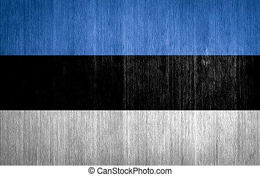 Estonia Flag on wood background