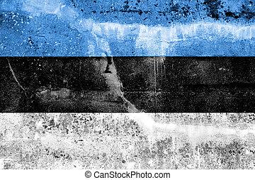 Estonia Flag painted on grunge wall