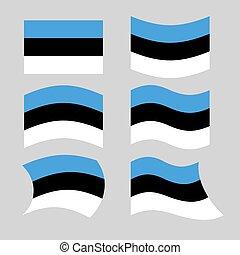 Estonia flag. Set of flags of Estonia in various forms. Developin Estonian flag European state