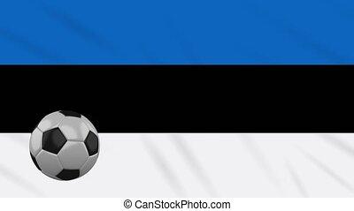 Estonia flag waving and football rotates, loop