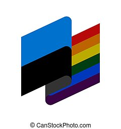 Estonia LGBT flag. Estonian Symbol of tolerant. Gay sign rainbow