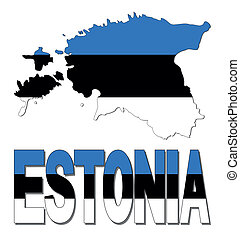 Estonia map flag and text