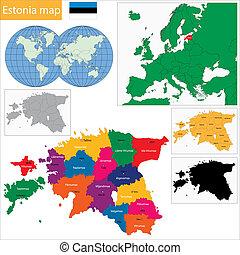 Estonia map - Map of administrative divisions of Republic of...