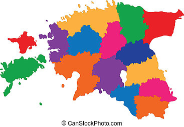 Estonia map - Map of administrative divisions of Republic of...