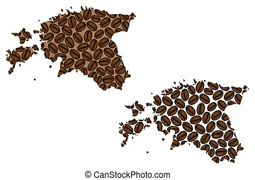 Estonia map - Estonia - map of coffee bean, Republic of...