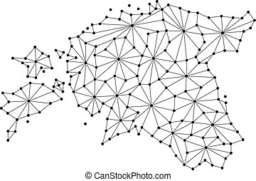 Estonia map of polygonal mosaic lines network, rays and dots vector illustration.