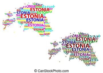 Estonia map - Sketch Estonia letter text map, Republic of...