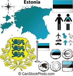 Estonia map - Vector set of Estonia country shape with...