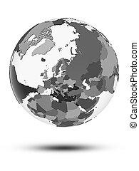 Estonia on political globe isolated