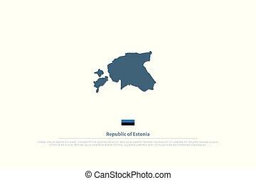 estonia - Republic of Estonia isolated map and official flag...